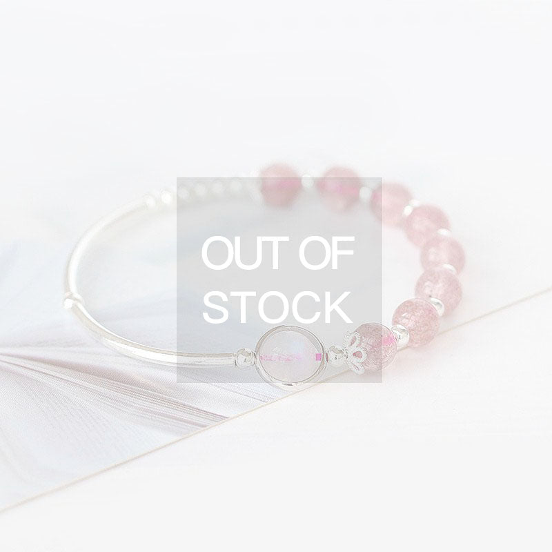 Rose Quartz Strawberry Quartz Crystal Sterling Silver Bead Bracelet Handmade Jewelry Women