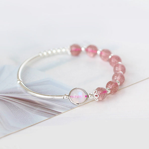 Rose Strawberry Quartz Crystal Sterling Silver Bead Bracelet Handmade Jewelry Women