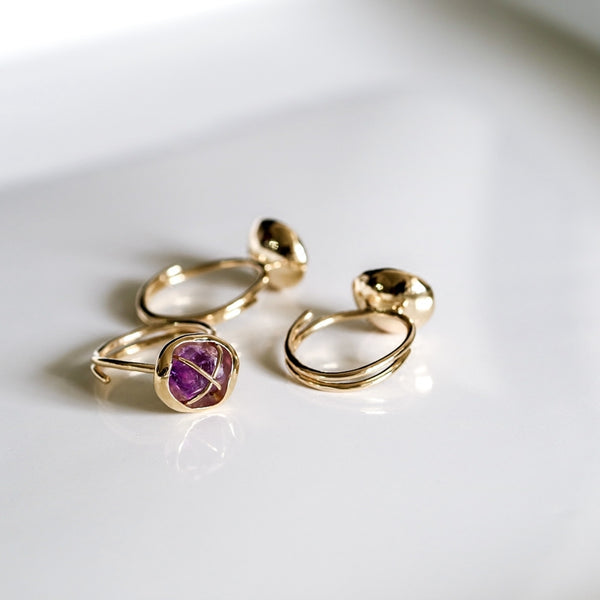 Rough Amethyst Ring in Gold Plated Cooper Handmade Feb Birthstone Jewelry Accessories Women