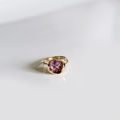 Rough Amethyst Ring Gold Cooper Handmade Feb Birthstone Jewelry Accessories Women natural