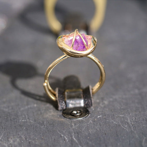 Rough Amethyst Ring Gold Cooper Handmade Feb Birthstone Jewelry Accessories Women promiss rings
