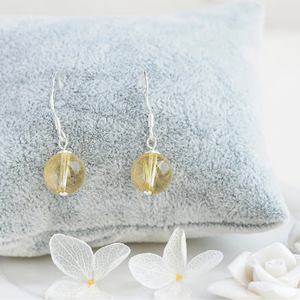 Rutilated Quartz Crystal Bead Drop Earrings Handmade Jewelry Accessories Women beautiful