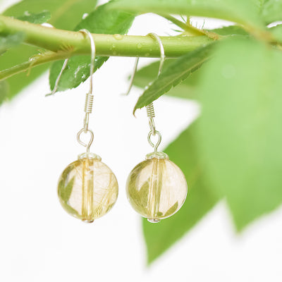 Rutilated Quartz Crystal Bead Drop Earrings Handmade Jewelry Accessories Women