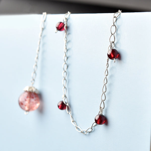 Silver Garnet Strawberry Quartz Crystal Bead Anklet Handmade Jewelry Accessories Women CUTE
