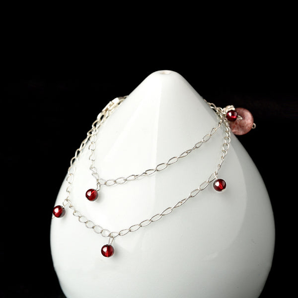 Silver Garnet Strawberry Quartz Crystal Bead Anklet Handmade Jewelry Accessories Women GIRL