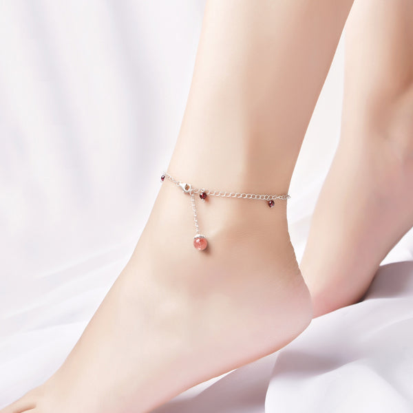 Silver Garnet Strawberry Quartz Crystal Bead Anklet Handmade Jewelry Accessories Women RED