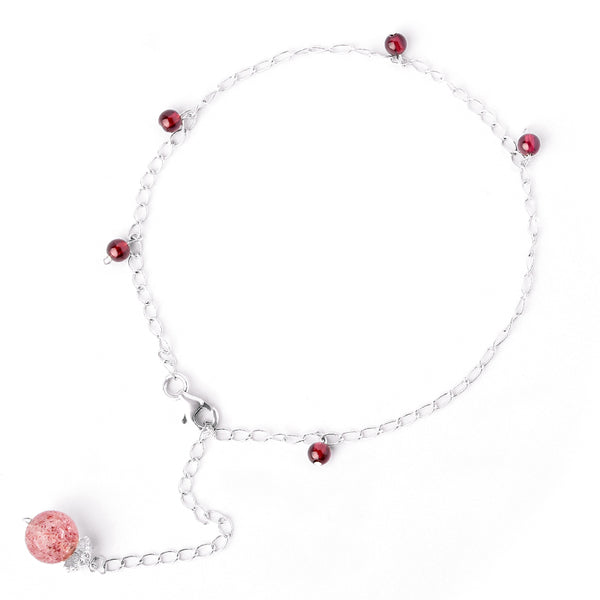 Silver Garnet Strawberry Quartz Crystal Bead Anklet Handmade Jewelry Accessories Women