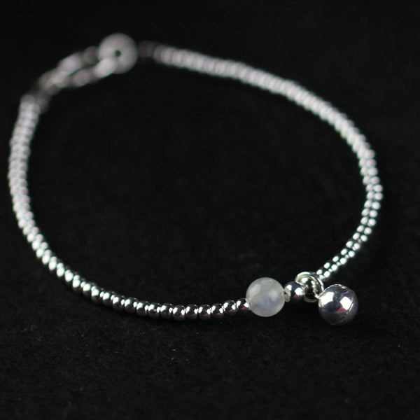 Silver Moonstone Beaded Bracelet Handmade Gemstone Jewelry Accessories Gifts For Women