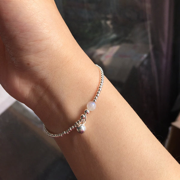 Silver Moonstone Beaded Bracelet Handmade Gemstone Jewelry Accessories Gifts Women cute