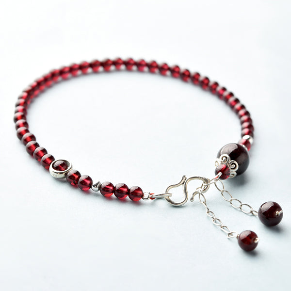 Sterling Silver Red Garnet Beaded Anklet Handmade Jewelry Gemstone Accessories Women