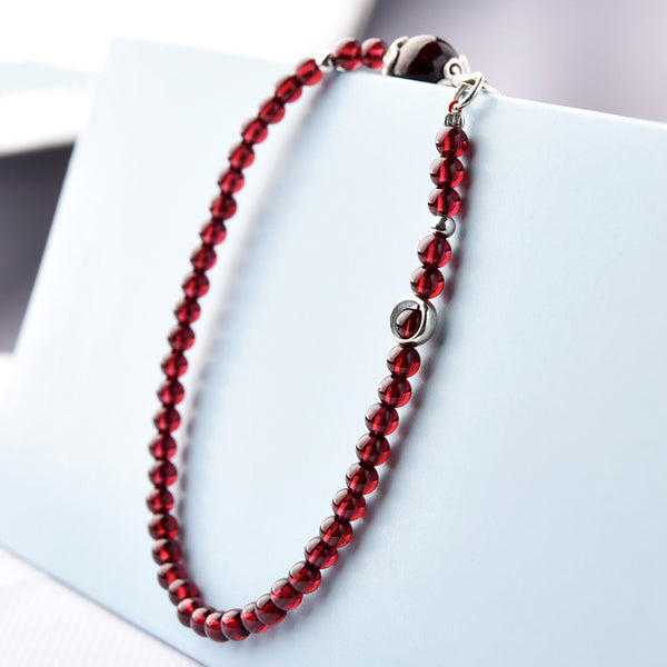 Silver Red Garnet Beaded Anklet Handmade Jewelry Gemstone Accessories Women chic