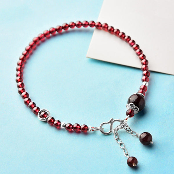 Silver Red Garnet Beaded Anklet Handmade Jewelry Gemstone Accessories Women cute