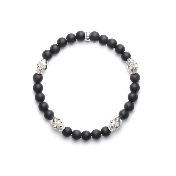 Silver Skull And Frosted Obsidian Bead Bracelets Lovers Jewelry Accessories for Women Men