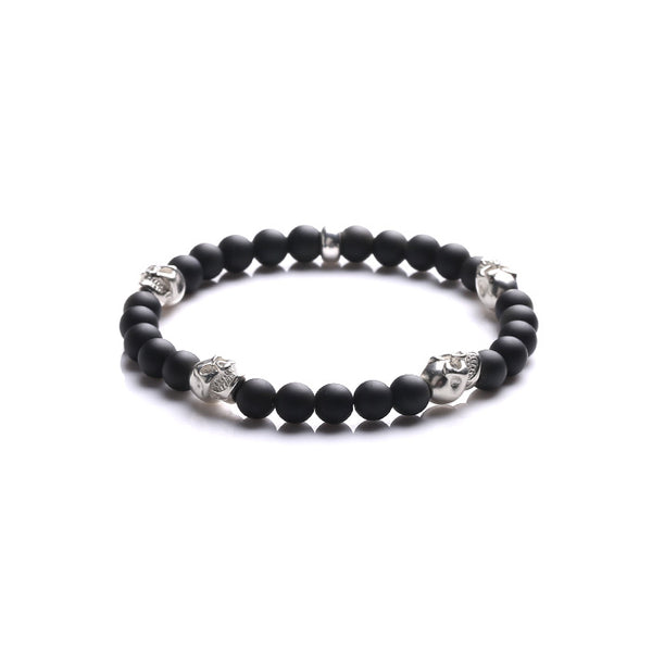 Silver Skull Frosted Obsidian Bead Bracelets Lovers Jewelry Accessories for Women Men