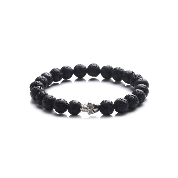 Silver Skull Lava Rock Bead Bracelets Lovers Jewelry Accessories Women Men