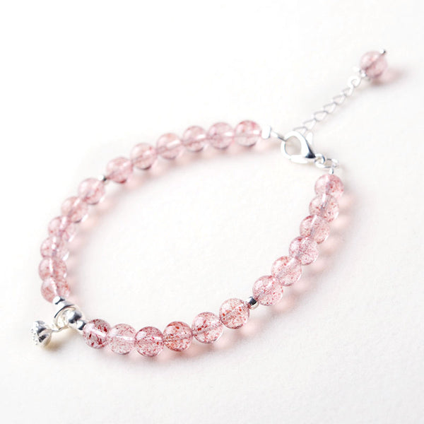 Silver Strawberry Quartz Crystal Bead Bracelet Handmade Jewelry Women adorable