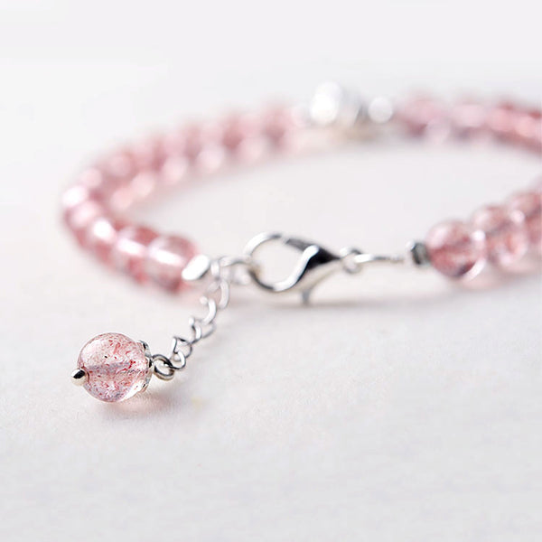 Silver Strawberry Quartz Crystal Bead Bracelet Handmade Jewelry Women chic