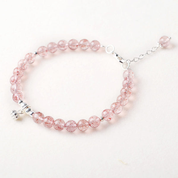 Silver Strawberry Quartz Crystal Bead Bracelet Handmade Jewelry Women cute