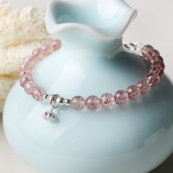 Silver Strawberry Quartz Crystal Bead Bracelet Handmade Jewelry Women pink