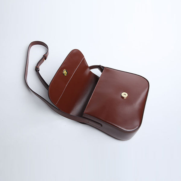 Simplify Womens Leather Saddle Bag Crossbody Bags Purse for Women Brown