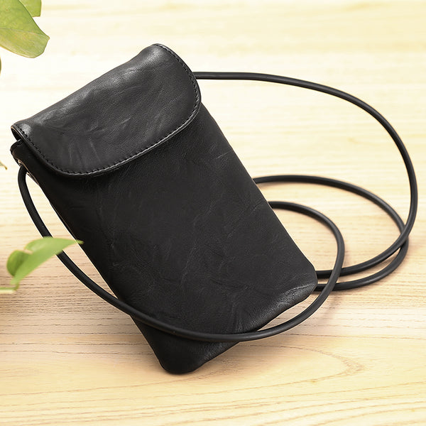 Small Black Leather Womens Crossbody Phone Bags Shoulder Bag Purse for Women