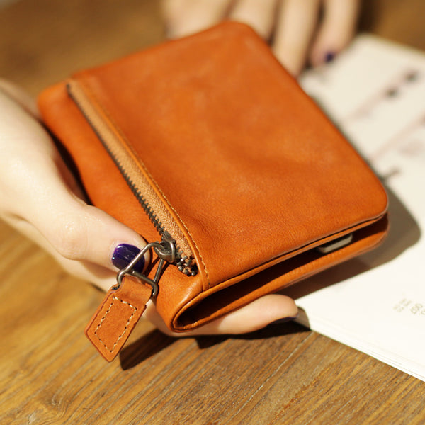 Small Brown Leather Womens Wallet Purse Handmade Clutch for Women