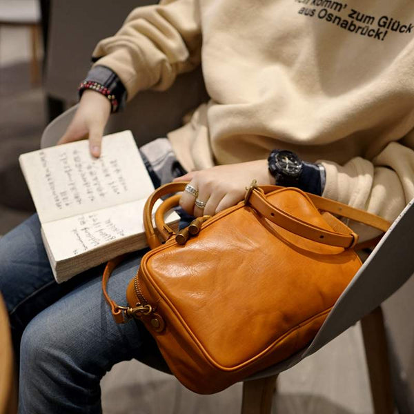 Small Cube Bag Brown Leather Handbags for Ladies Crossbody Purse for Women Accessories
