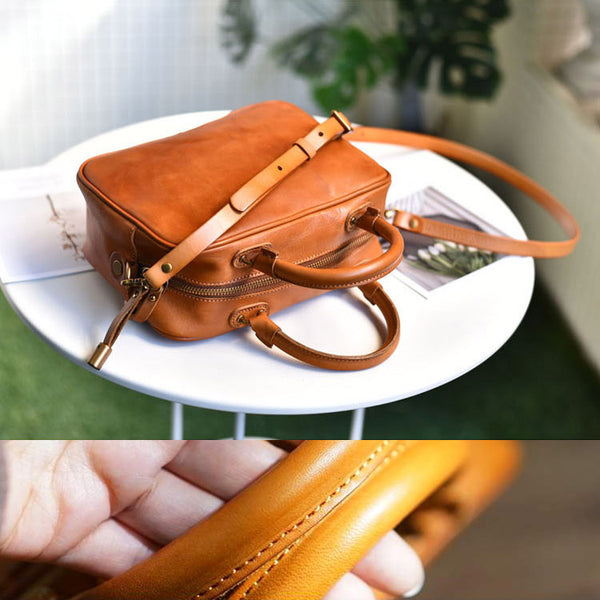 Small Cube Bag Brown Leather Handbags for Ladies Crossbody Purse for Women Brown
