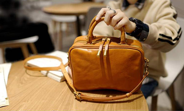 Small Cube Bag Brown Leather Handbags for Ladies Crossbody Purse for Women Designer