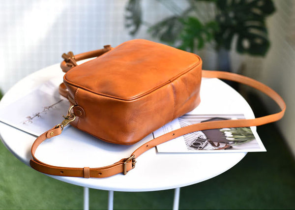 Small Cube Bag Brown Leather Handbags for Ladies Crossbody Purse for Women Genuine Leather