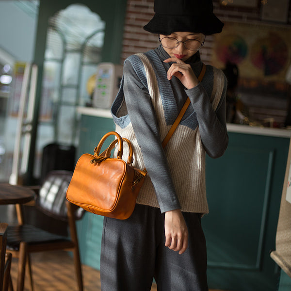 Small Cube Bag Brown Leather Handbags for Ladies Crossbody Purse for Women beautiful