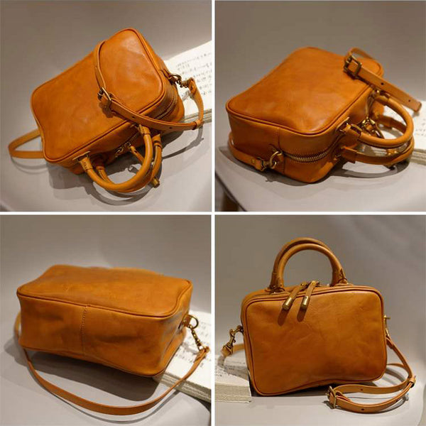 Small Cube Bag Brown Leather Handbags for Ladies Crossbody Purse for Women best