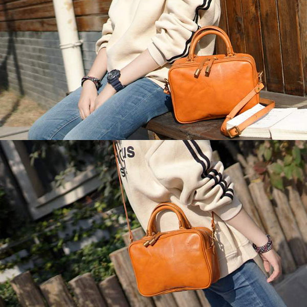 Small Cube Bag Brown Leather Handbags for Ladies Crossbody Purse for Women cute