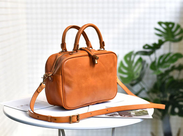 Small Cube Bag Brown Leather Handbags for Ladies Crossbody Purse for Women fashion