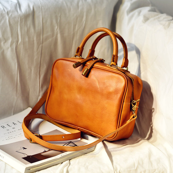 Small Cube Bag Brown Leather Handbags for Ladies Crossbody Purse