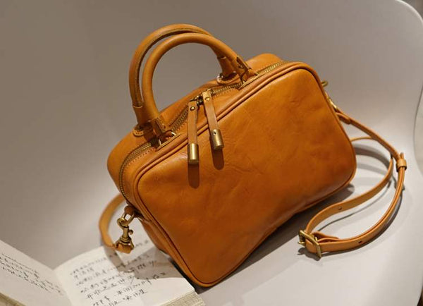 Small Cube Bag Brown Leather Handbags