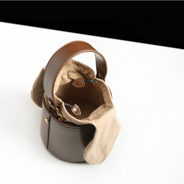 Small Cute Womens Bucket Bag Leather Handbags Crossbody Bags for Women Brown