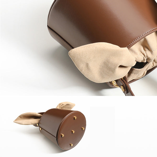 Small Cute Womens Bucket Bag Leather Handbags Crossbody Bags for Women fashion