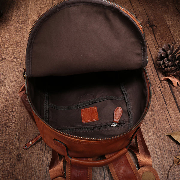 Small Ladies Brown Leather Zip Backpack Bag Purse Funky Backpacks For Women Chic
