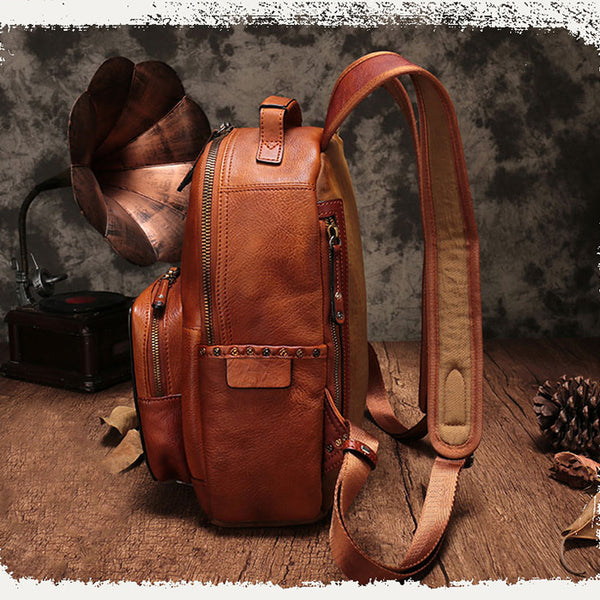 Small Ladies Brown Leather Zip Backpack Bag Purse Funky Backpacks For Women Designer