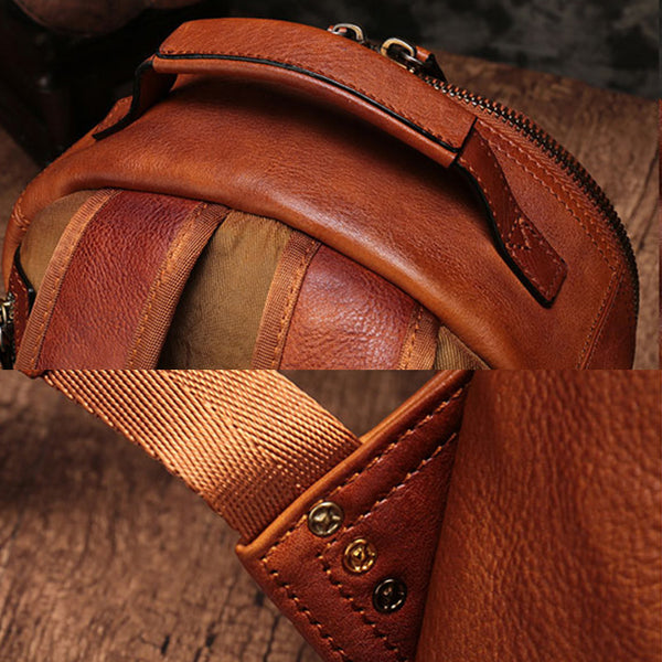Small Ladies Brown Leather Zip Backpack Bag Purse Funky Backpacks For Women Details