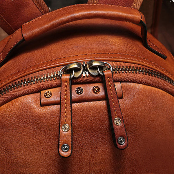 Small Ladies Brown Leather Zip Backpack Bag Purse Funky Backpacks For Women Genuine Leather