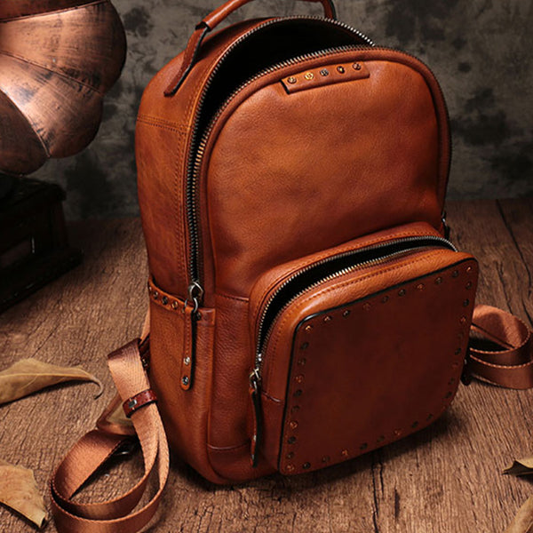 Small Ladies Brown Leather Zip Backpack Bag Purse Funky Backpacks For Women Inside