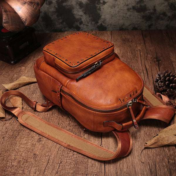 Small Ladies Brown Leather Zip Backpack Bag Purse Funky Backpacks For Women beautiful