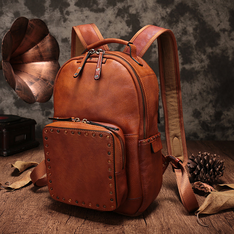 Small Ladies Brown Leather Zip Backpack Bag Purse Funky Backpacks For Women cool