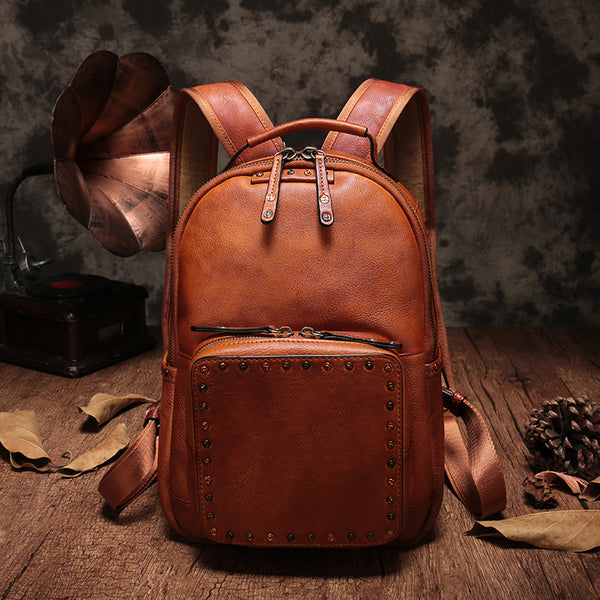Small Ladies Brown Leather Zip Backpack Bag Purse Funky Backpacks For Women cowhide