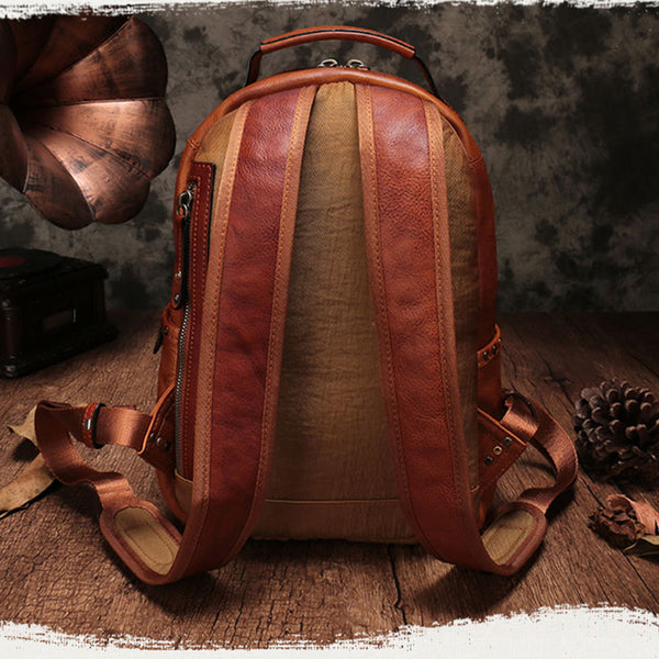 Small Ladies Brown Leather Zip Backpack Bag Purse Funky Backpacks For Women cute