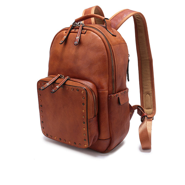 Small Ladies Brown Leather Zip Backpack Bag Purse Funky Backpacks For Women