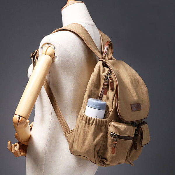 Small Ladies Canvas Travel Backpack Bag With Pockets Rucksack Purse For Women Brown