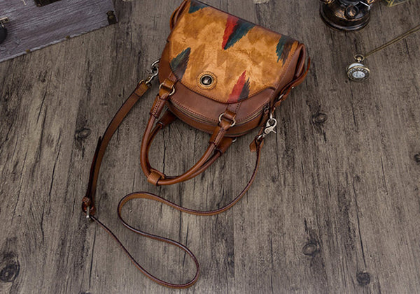 Small Ladies Cross Body Brown Leather Handbags Over The Shoulder Purse for Women Cowhide